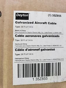DAYTON 35Z855 Aircraft Cable,GS,1/4 In. x 36 ft.