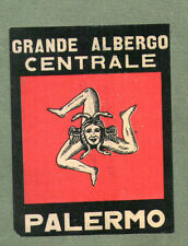 RARE Hotel luggage label ITALY Palermo nice design   #520
