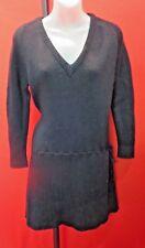 I. MAGNIN Vintage Black School Girl 100% Wool Sweater dress Sz M