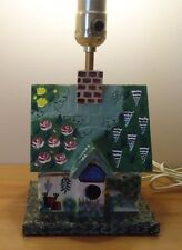 BIRDHOUSE wood hand painted Table LAMP