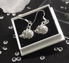 Hedgehog Solid Silver Earrings (Hooks) Statement Piece / Jewellery Free Gift Bag