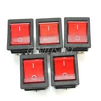 5x Interruttore a Bilanciere 6 Pin Rosso Illuminato ON/OFF 20A/250V Auto Moto