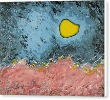 Melting Moon over Drifting Sand Dunes 11x14 Original Acrylic Painting On Canvas
