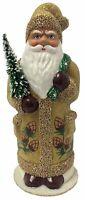 Ino Schaller Gold Coat Pine Cone Santa German Paper Mache Candy Container