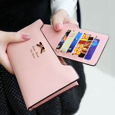 Fashion Lady Women Leather Clutch Wallet Long Card Holder Purse Handbag Pink