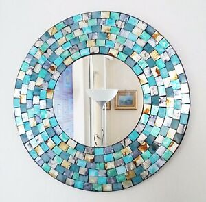 Round mosaic wall mirror, teal & gold brushed style, hand made in Bali, 40cm NEW