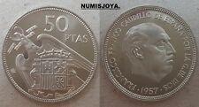 FRANCO. ESCASA moneda de 50 Pesetas PROFF año 1957 en estrella 73. AUTENTICA.