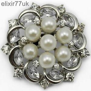 Neue versilberte Blume Perle Brosche Diamant Kristall Hochzeit Braut PIN BROACH