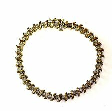 "10k yellow gold 1ct round diamond tennis bracelet 8.2g vintage estate 7"" antique"