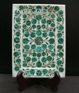 9 x 6 Inches Marble Table Master Piece Malachite Stone Inlaid Work Useful Tray