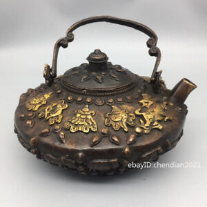 """6.8""""China Qing Dynasty Old pure copper Gilt Flat eight treasures Portable teapot"""