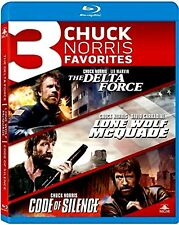 NEW 3BLU RAY SET- DELTA FORCE + LONE WOLF McQA + CODE OF SILENCE - CHUCK NORRIS