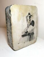 Antique 1920 Lithographic real Stone illustration pinup Printing Block Litho
