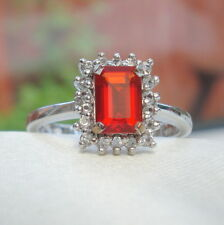 Certified Natural Red Mexican Fire Opal Gold Ring