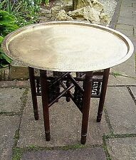 ISLAMIC ANTIQUE  FOLDING SIDE TABLE WITH SUPERB BRASS TRAY TOP