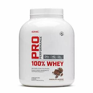 GNC Pro Performance 100% Whey Protein Powder Chocolate Supreme 5 Lbs 80oz 64 Ser