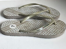 NEW TOMMY HILFIGER ALI NUDE BROWN WHITE FLIP-FLOPS SLIPPERS SANDALS 7 8 SALE