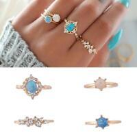 4Pcs/set Women Crystal Blue Rings Boho Midi Finger Knuckle Party Rings 2019new