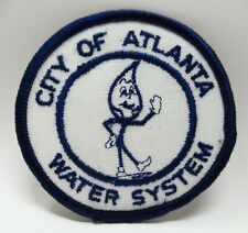 Vintage Patch - City Of Atlanta - Water System - Embroidered Water Drop Mascot
