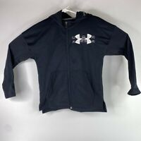 Under Armour Boys Black Cold Gear Loose Full Zip Sweatshirt Hoodie Size YLG