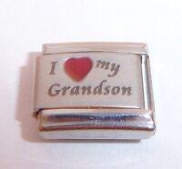 I LOVE MY GRANDSON Italian Charm - Red Heart 9mm Grandchildren fits Classic Size