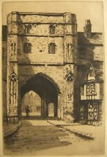 Sepia etching; Canterbury, pencil signed; Florence Page 1920's