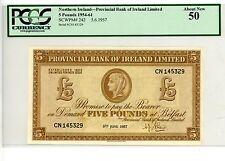 Northern Ireland … P-242 … 5 Pounds … 5-Jun-1957 … *Ch-AU*  3 rd Date .PCGS50.