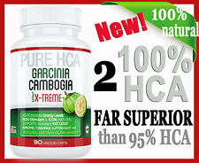 2 X 100% HCA STRONGER than 85/95% HCA GARCINIA CAMBOGIA-WEIGHT LOSS  FAT BURNER