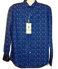 Ganesh Men's  Blue Floral Cotton Soft  Design Shirt Size 2XL $140