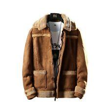 Winter Men Sueded Jacket Cashmere Shearling Lambwool Outwear Coat Lapel Overcoat