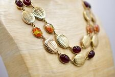 Statement Collar Necklace Double Strand Maroon Orange Metallic Lucite Gold BinK