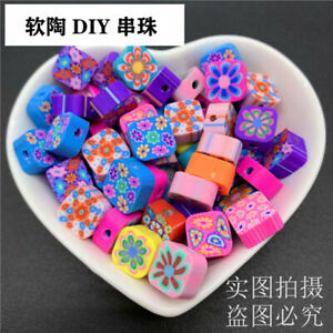 30 pcs 10mm Clay Colorful Square Flower Beads For DIY Jewelry Making Bracelet