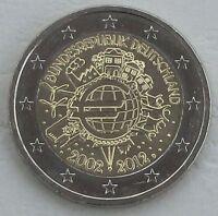 2 Euro Deutschland D 2012 10 Jahre Euro unz