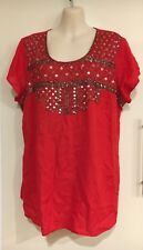 NWT Millers Embellished Yoke Red Beaded Sequinned Top Size 16 (rrp $40)