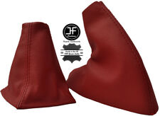 DARK RED REAL LEATHER FITS MG MGF MK1 1995-2000 GEAR BOOT + HANDBRAKE BOOT SET