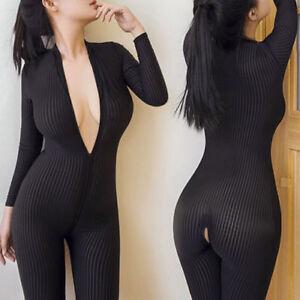 Black Women Striped Sheer Bodysuit Zipper Long Sleeve Open Crotch Jumpsuit
