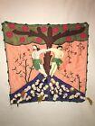 Vintage Folk Art Tapestry Adam & Eve Wall Hanging