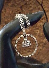 Enso Zen Mini Buddha Open Circle Silver Necklace Buddhist Meditation Amulet