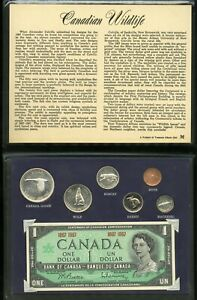 CANADIAN 1867-1967 COMMERATIVE PROOF LIKE WILDLIFE COIN SET & CENTENNIAL DOLLAR