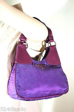 Vintage PRADA Lavander Nylon & Leather Hobo Shoulder Bag Italy