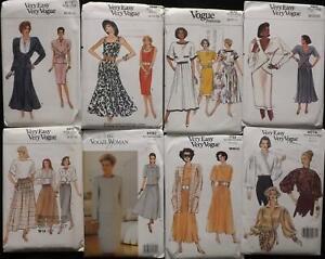 Job Lot 8 Vintage Vogue 1980s Ladies Sewing Patterns FF & Unused Size UK 8~10~12