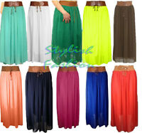 ST038 Women Girls Designer Chiffon Skirt Long Skirt Belted Waist Maxi Size 8-16