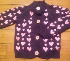 Girls Brown With Pink Heart Shape Patten Jumpers Age 4Yrs