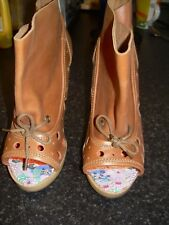 brown leather IRREGULAR CHOICE lace up curved block heel boots/sandals UK 4 EU37