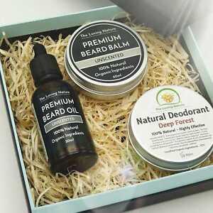 Men's Gift Set in Eco-Friendly Box   Beard Oil + Beard Balm + Deodorant Bundle
