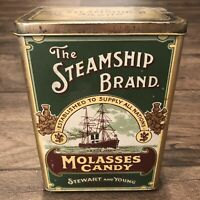 Vintage The Steamship Brand Molasses Candy Tin Made In England Stewart & Young