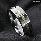 Men's Tungsten Ring Silver Inlay Wedding Band Titanium Color Jewelry Size 6-13