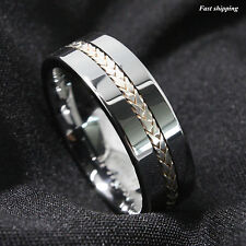 8MM Men's Tungsten Ring Silver Inlay Wedding Band Titanium Color ATOP Jewelry