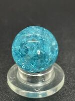 "Vitro Marble UV Active Aqua Blue Crackle Glass Marble Player size 0.551""Mint"