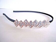 Women's Jeweled Black Headband Gold Tone Metal And Clear Stones New